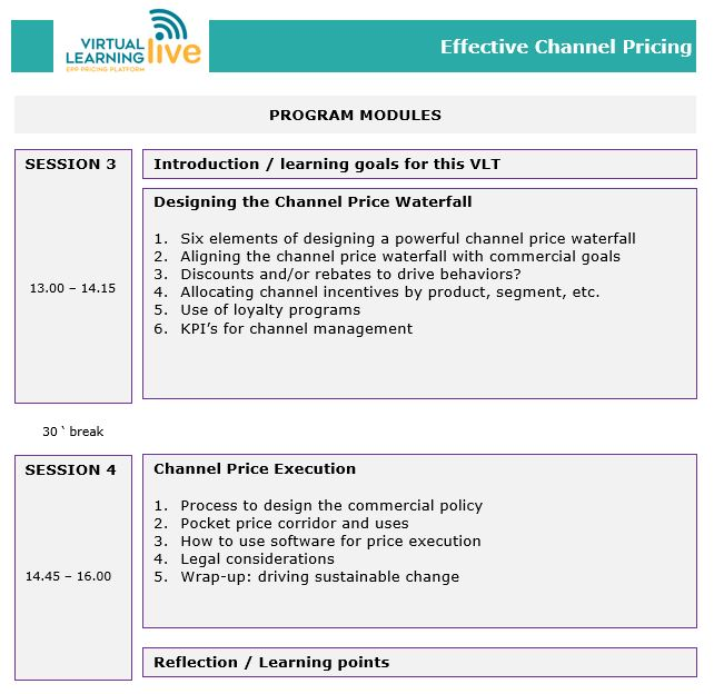Training Schedule Effective Channel Pricing 2